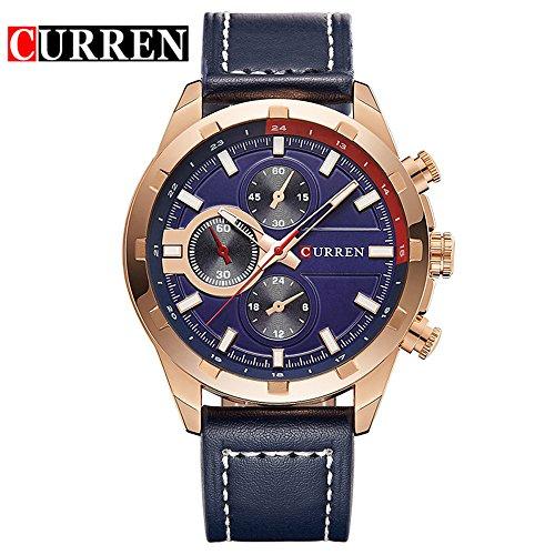 Wasserdicht Wasserdicht Sport Herren Uhren Kalender Analog Quarz Blau Zifferblatt Armbanduhr 8216 G