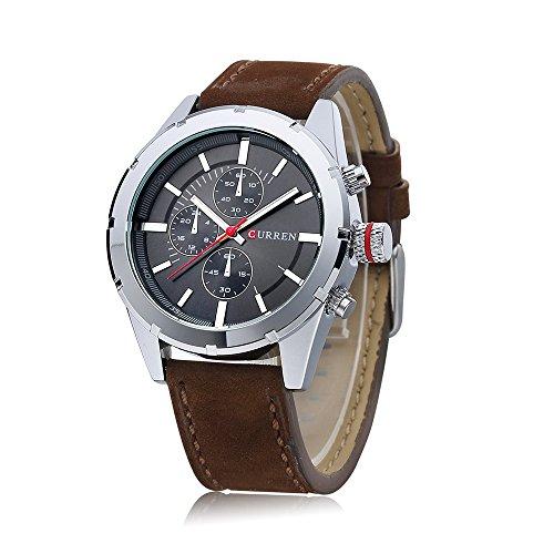 Wasserdicht New Herren Quarz Casual Braun Lederband grau Zifferblatt Wasserdicht Armbanduhr 8154 G
