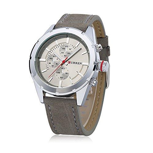 Wasserdicht New Herren Quarz Casual grau Lederband grau Zifferblatt Wasserdicht Armbanduhr 8154 G