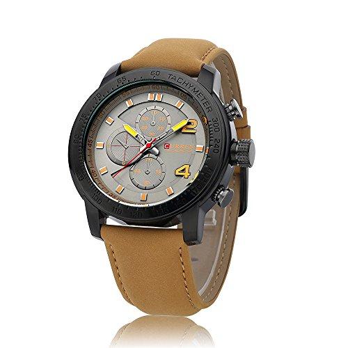Wasserdicht Herren Quarzuhr learther Gurt geschaeftsleuten hilft Armbanduhr 8190 G