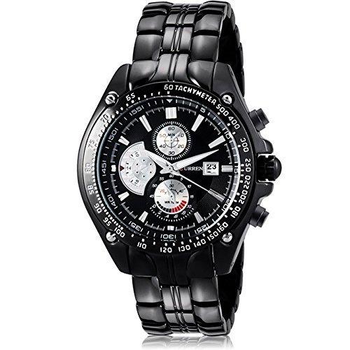Wasserdicht Herren Militaer Quarzuhr Wolfram Stahl analoge Uhr Big Face Armbanduhr Schwarz