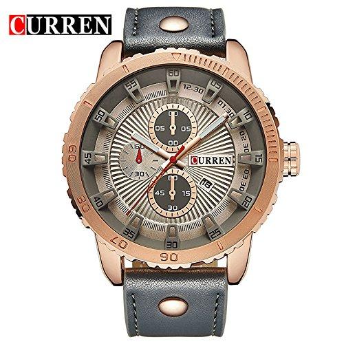 Wasserdicht Herren Quarz Analog Military Business Armbanduhr mit grau Zifferblatt Grau Leder Riemen 8206