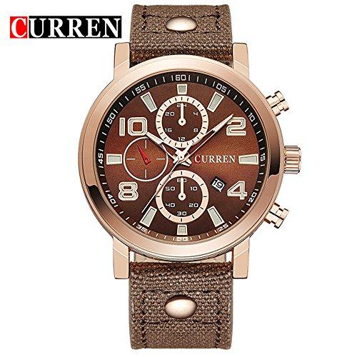 Wasserdicht Hohe Qualitaet Herren Fashion Kaffee Zifferblatt Wasserdicht Sport Armbanduhr 8199 G