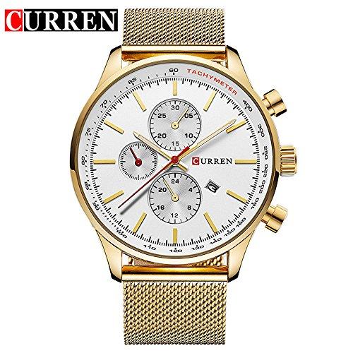 Wasserdicht Fashion Herren Quarzuhr Datum Edelstahl Band weiss Zifferblatt Armbanduhr 8227 G