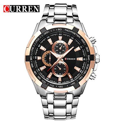 Wasserdicht Herren Schwarz Zifferblatt Luxus Marke Edelstahl casual Quarz Handgelenk Uhren 8023 G