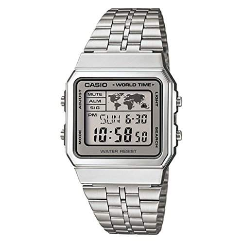 CASIO Herren-Armbanduhr Digital Quarz Edelstahl A500WA-7