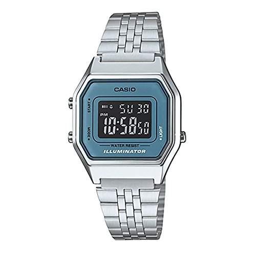 CASIO Herren-Armbanduhr Digital Quarz Edelstahl LA-680WA-2B