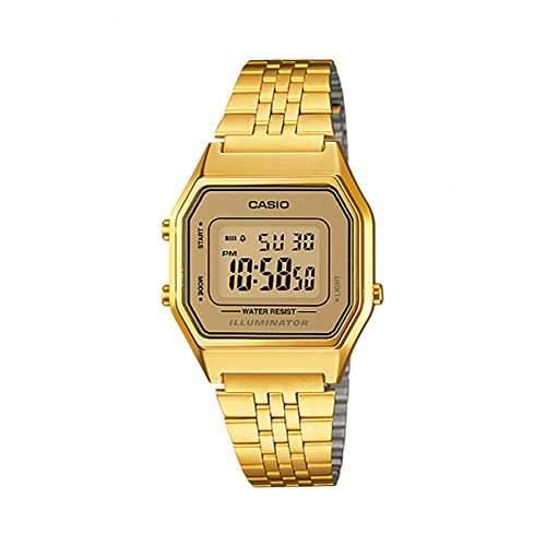 CASIO Damen-Armbanduhr Digital Quarz Edelstahl LA-680WG-9