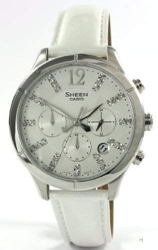 Casio Damen-Armbanduhr Chronograph Quarz Leder SHE-5020L-7AEF