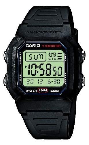 Casio Unisex Armbanduhr Collection Digital Quarz Schwarz Resin W-800H-1Aves