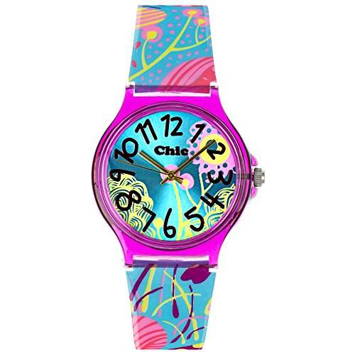Tee-Wee Chic-Watches Damenuhr Flower Power tuerkis Armbanduhren Chic Lady UC018