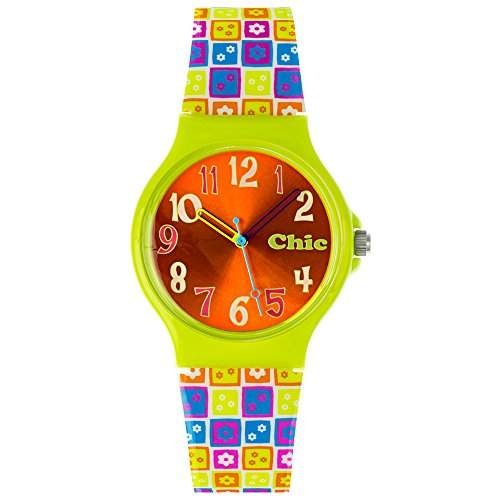 Tee-Wee Chic-Watches Damenuhr Flower Power gruen Armbanduhr Chic Lady-Uhr UC023