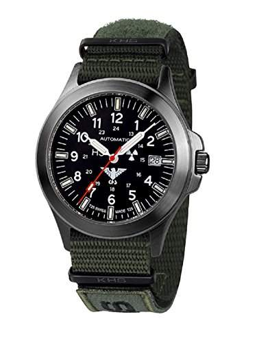 KHS Tactical Watches Black Platoon Automatic KHSBPANXTO1 Edelstahl IPB Nato XTAC Olive