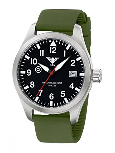 KHS Tactical Watches Airleader Steel KHS AIRS SO Edelstahl Silikon Oliv