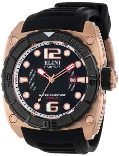 Elini Barokas Commander Herren Schwarz Kautschuk Armband Uhr 10014-RG-01-BB