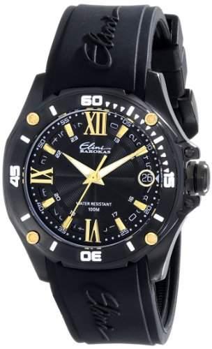 Elini Barokas Artisan Damen 39mm Schwarz Kautschuk Armband Uhr 10197-BB-01-GA