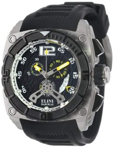 Elini Barokas Commander Herren-Armbanduhr 48mm Chronograph Armband Silikon Schweizer Quarz 17012-01-YLA