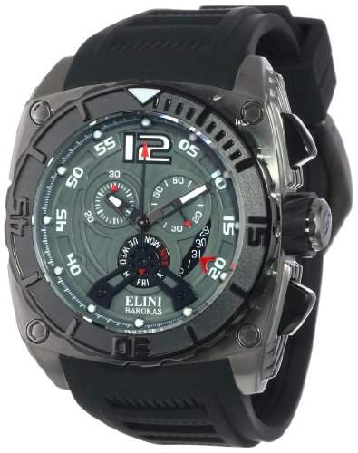 Elini Barokas Commander Herren-Armbanduhr 48mm Chronograph Armband Silikon Schweizer Quarz 17012-GM-014