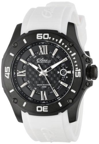 Elini Barokas Artisan Herren 46mm Weiss Kautschuk Armband Uhr 10196 BB 01 WHT