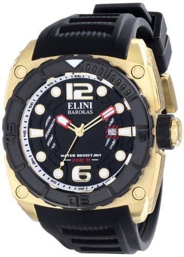Elini Barokas Commander Herren Schwarz Kautschuk Armband Uhr 10014 YG 01 BB