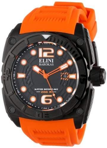Elini Barokas Commander Herren Kautschuk Armband Mineral Glas Uhr 10014-BB-01OSA