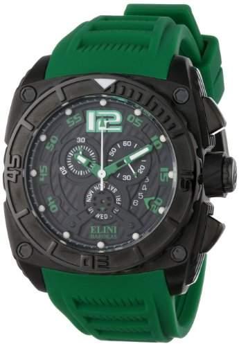 Elini Barokas Commander Herren Chronograph Kautschuk Armband Uhr 17012BB01GRNSA