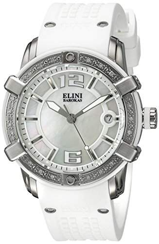 Elini Barokas Spirit Damen-Armbanduhr 39mm Armband Silikon Gehaeuse Edelstahl Schweizer Quarz 20005D-02-WHT