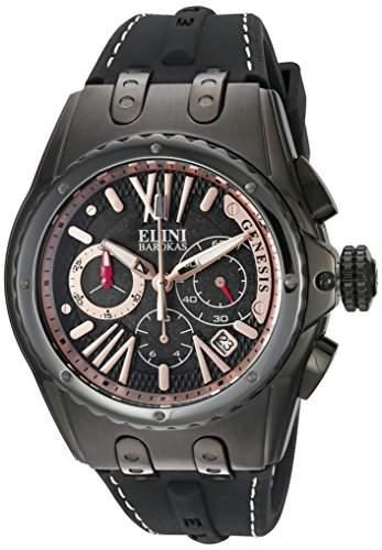 Elini Barokas Genesis Herren-Armbanduhr 46mm Armband Silikon Schwarz Schweizer Quarz 20008-BB-01-RA