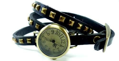 Damen-Uhr-Armbanduhr-Wickel-Armbanduhr-Damen-Uhren mit Nieten 60-14