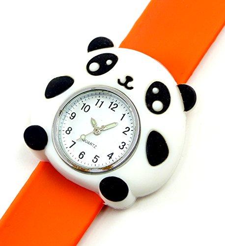 Kinderuhr mit Slaparmband aus Silikon viele Modelle Panda orange