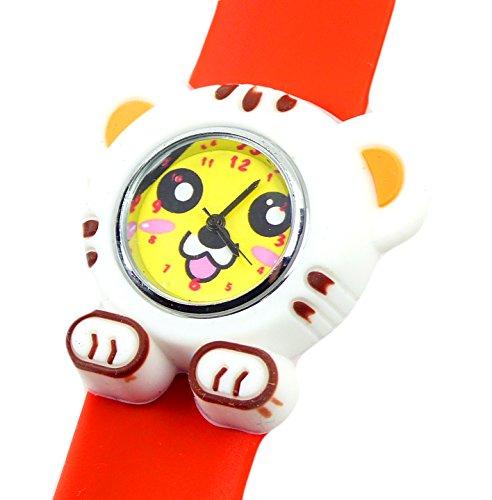 Kinderuhr mit Slaparmband aus Silikon viele Modelle Tiger weiss orange