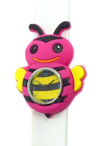 suesse Kinderuhr mit Slaparmband aus Silikon viele Modelle Biene pink weiss