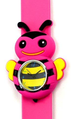 suesse Kinderuhr mit Slaparmband aus Silikon viele Modelle Biene pink