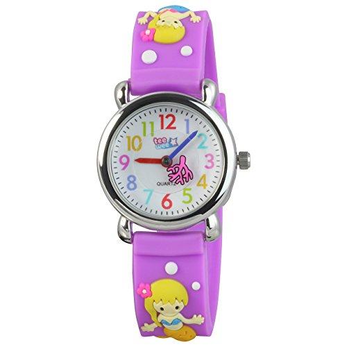 Teenie Weenie Kinderuhr lila Meerjungfrau 3D Kautschukband Kinder Uhren UW647V