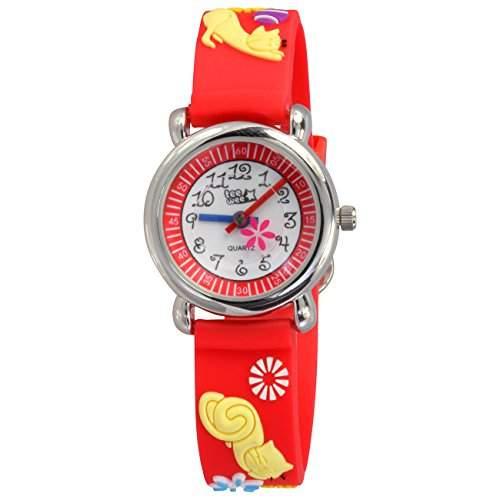 Teenie-Weenie Kinderuhr rot Katzen 3D Kautschukband Kinder Uhren UW243R