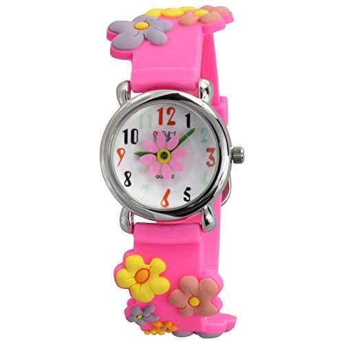 Teenie-Weenie Kinderuhr pink Bluemchen 3D Kautschukband Kinder Uhren UW350P