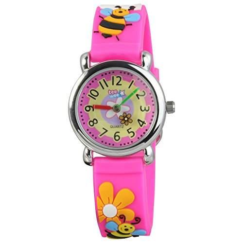 Teenie-Weenie Kinderuhr pink Bienchen 3D Kautschukband Kinder Uhren UW385P