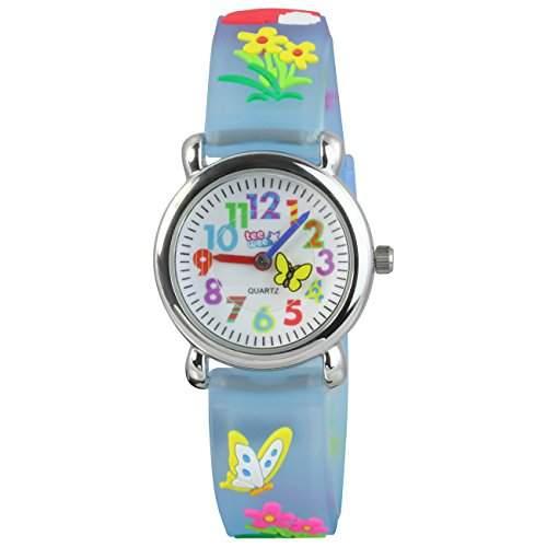 Teenie-Weenie Kinderuhr tuerkis Wiese 3D Kautschukband Kinder Uhren UW434T