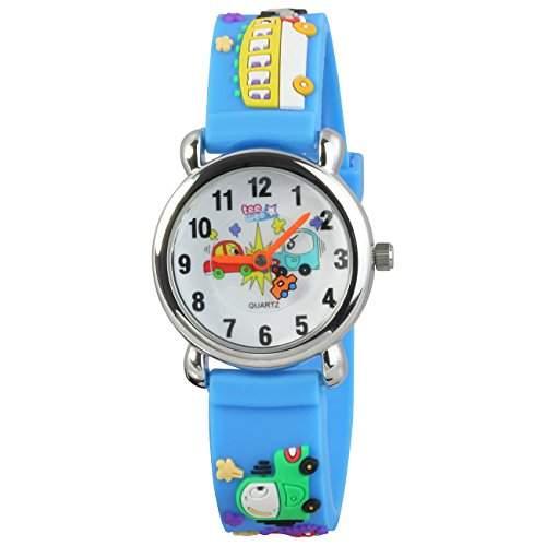 Teenie-Weenie Kinderuhr hellblau Autos 3D Kautschukband Kinder Uhren UW519H