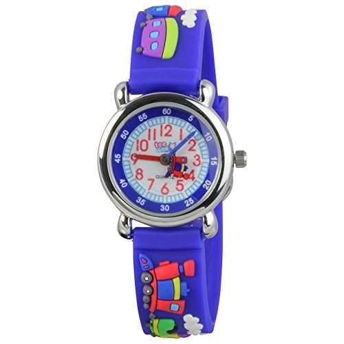 Teenie-Weenie Kinderuhr blau Eisenbahn 3D Kautschukband Kinder Uhren UW659B
