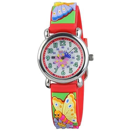 Teenie-Weenie Kinderuhr rot Schmetterling 3D Kautschukband Kinder Uhren UW753R