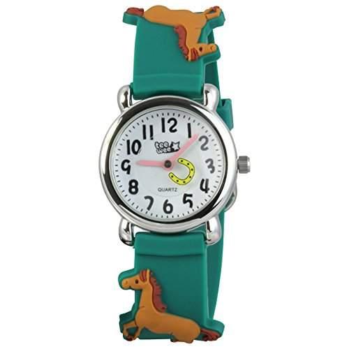 Teenie-Weenie Kinderuhr gruen Pferde 3D Kautschukband Kinder Uhren UW767G