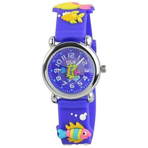Teenie-Weenie Kinderuhr blau Meereswelt 3D Kautschukband Kinder Uhren UW835B