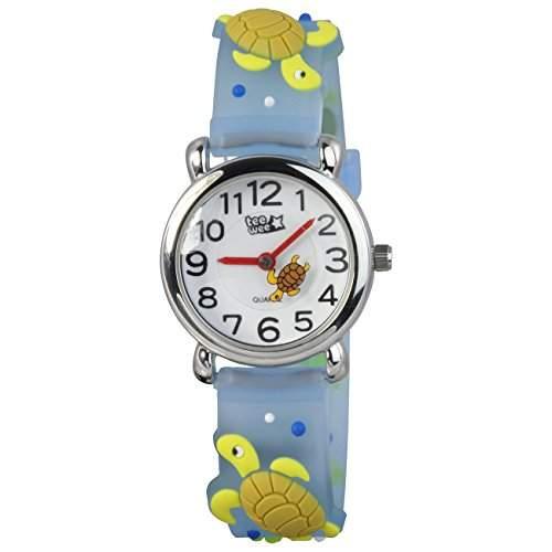 Teenie-Weenie Kinderuhr tuerkis Schildkroete 3D Kautschukband Kinder Uhren UW925T