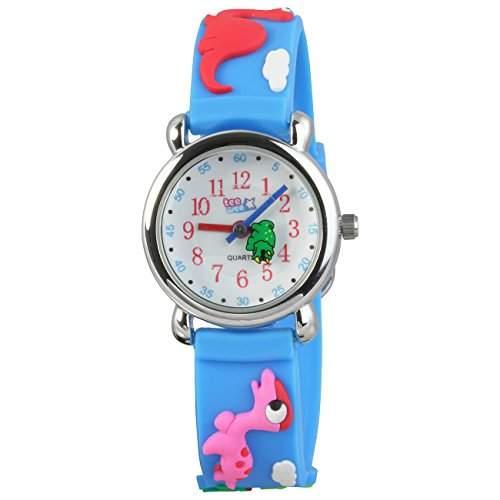 Teenie-Weenie Kinderuhr hellblau Dinos 3D Kautschukband Kinder Uhren UW941H