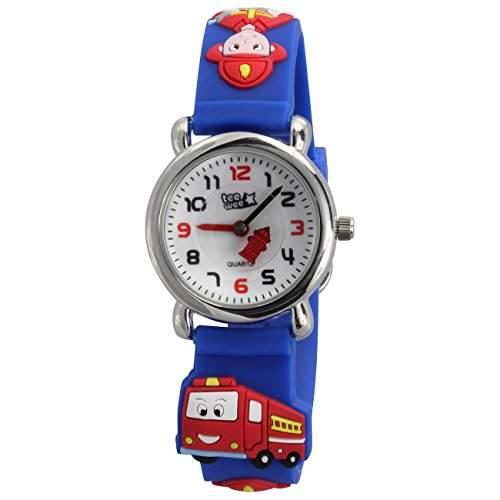 Teenie-Weenie Kinderuhr blau Feuerwehr 3D Kautschukband Kinder Uhren UW953B