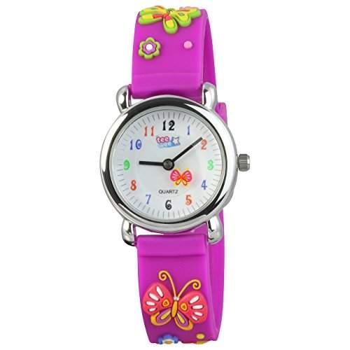 Teenie-Weenie Kinderuhr lila Schmetterling 3D Kautschukband Kinder Uhren UW985V