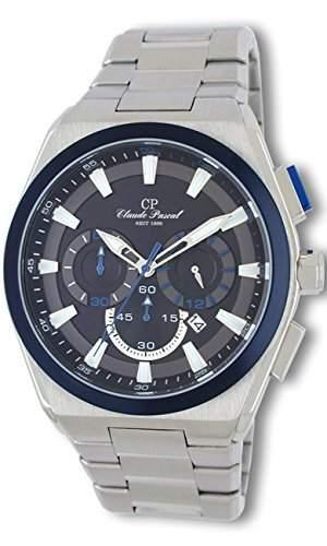 Claude Pascal Herrenuhr Chronograph Edelstahl, blaue Luenette 4481691