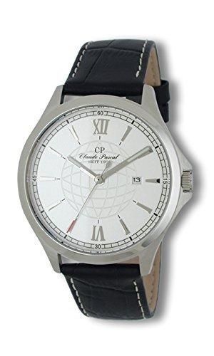 Claude Pascal Herrenarmbanduhr Lederband schwarz Krokoimitation 3481611