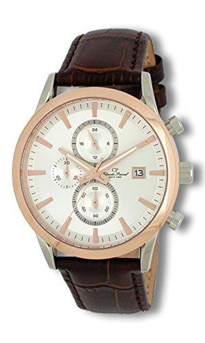 Claude Pascal Herrenuhr mit Lederband Chronographen IP Rose 3481712